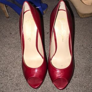 Jessica Simpson patent leather red peeptoe heels
